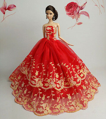 Red Fashion Royalty Princess Dress/Clothes/Gown For Barbie Doll S508