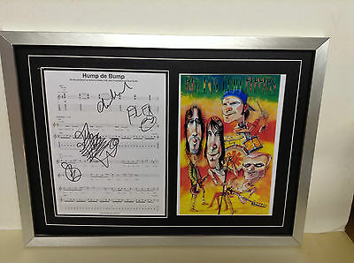 Red Hot Chili Peppers Hand Signed/Autographed Songsheet with Poster and COA