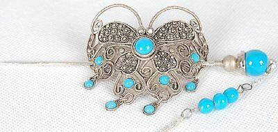 Chinese Tibet silve turquoise butterfly bun pin stick barrette hair slide clip