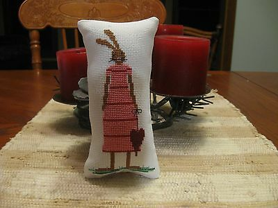 Finished Completed Easter Cross Stitch Ornament Bowl filler girl bunny