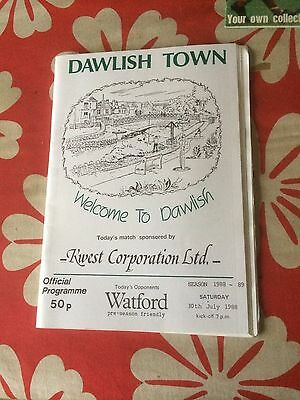 Dawish Town v Watford  friendly 1988  programme and ticket