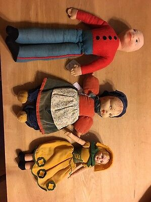 Three Vintage Cloth Dolls-1 Chad Valley Soldier Type, 2 Nora Wellings Girls