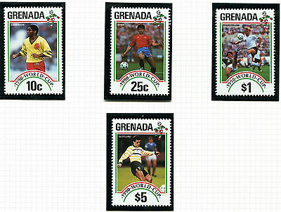 Grenada 1990 Italy Football World Cup Set Of All 4 Commemorative Stamps Mnh