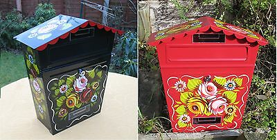 Canal Barge Ware Letter Box decorated with roses and daisies