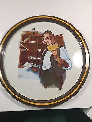 """Vintage Norman Rockwell Metal Tray, """"Country Postman 1922 Saturday Evening Post"""