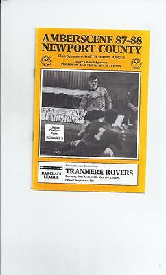 Newport County v Tranmere Rovers Football Programme 1987/88