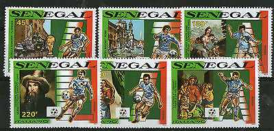 SENEGAL 1990 ITALY FOOTBALL WORLD CUP SET SIX COMMEMORATIVE STAMPS MNH (a)