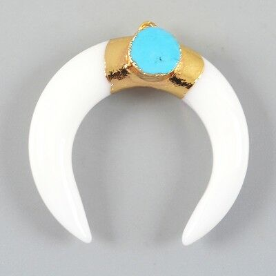 Crescent Double Horn White Agate & Howlite Turquoise Charm Gold Plated T023941