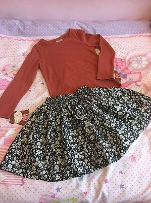 NEXT Girls Rust Top & Black Floral Skirt Outfit Sz 5-6 Years