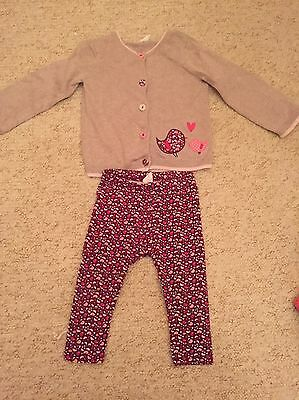 Girls 9-12 Months Cardigan And Leggings Set With Birds On From H&M