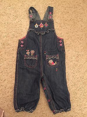 Girls 9-12 Months Dungarees With Birds On From Tu