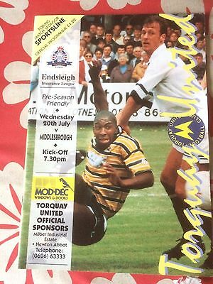 Torquay United v Middlesbrough  friendly july 1994