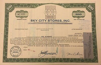 1974 Sky City Stores Co. Stock Certificate North Carolina Defunct Chain, Last 1