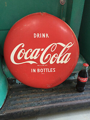 "1950s Vintage 16"" Metal Tin Advertising Coca Cola Coke Button Retro Wall Sign"