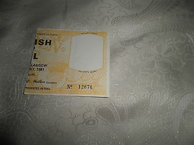 1981 Scottish Cup Final Used Ticket.