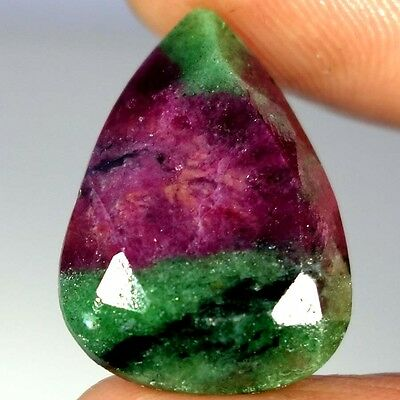 24.80Cts 100% NATURAL MAGNIFICENT RED GREEN RUBY ZOISITE RARE PEAR CUT GEMSTONES