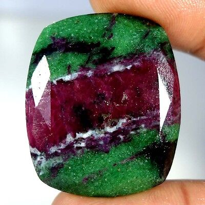 79.95Cts. 100% NATURAL MARVELOUS RED GREEN RUBY ZOISITE CUSHION CUT A+ GEMSTONES