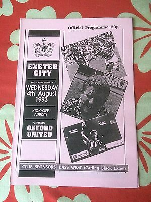 Exeter City v Oxford United  friendly 1993