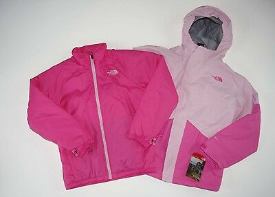 New The North Face Girls KIRA TRICLIMATE winter jacket 3 in 1 PINK Medium 10/12