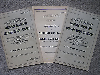 B.R. Working Timetables. sections CU & CY. Crewe, Carlisle etc...1985 - 1986.