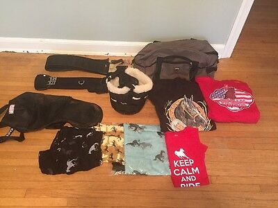 Lot Of Horse Items Ariat Bag ,Clothes Dressage & English Girths, Muzzle,Flymask