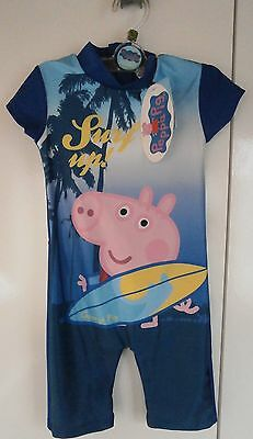 George Pig, Baby Boys Swimsuit Sunsuit UV 50+  Age 18-24 Mths BNWT