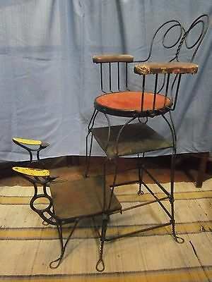 """Rare Antique Shoe Shine Chair All Original Signed """"Chicago Wire Chair Company"""""""