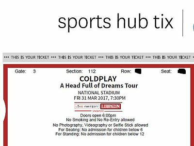 Coldplay A head full of dreams Asian Tour Singapore 31 March 2017