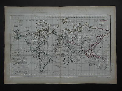 1795 VAUGONDY Atlas Delamarche WORLD map  MAPPE MONDE OU CARTE GENERALE