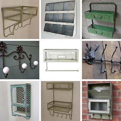 Industrial Style Metal Wall Cabinets Coat Hooks Shelves Distressed Storage Unit