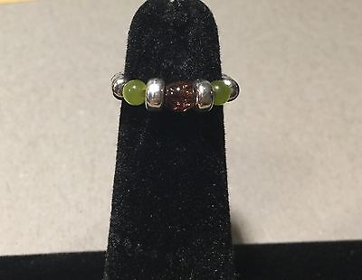 ❁  Sterling 925 Silver Stretch Bead Toe Ring With Jade And Amber Comfy !