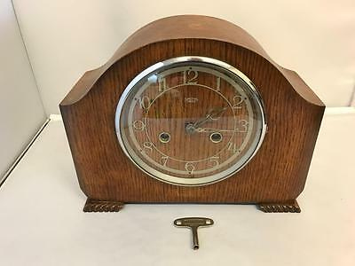 Vintage Large Original Art Deco Smiths Enfield Mantel Clock Not Working With Key