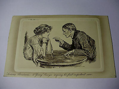 """K246 - 1911 """"Serious Business"""" YOUNG LAWYERS FIRST CASE - POSTCARD Stamp"""