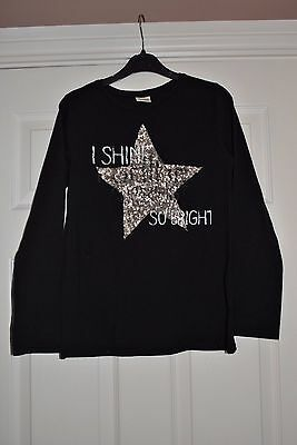 Girls Black Top With Sequin Star From Zara Size 11-12 Yrs