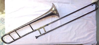 Harry B. Jay Silverplate Columbia Trombone 1910-25 With Mouthpiece