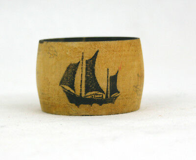 Vintage Treen Napkin Ring Sailing Ship Unusual One of a Kind Hand Drawn Scene