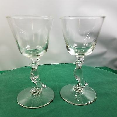 Old Crow Whiskey Crow Figure In Stem Glasses Lot Of 2