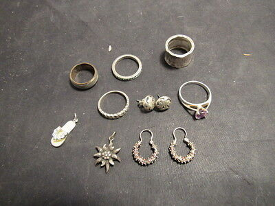 vintage  Sterling Silver Jewelry Lot. charms  rings earrings