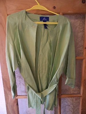 JH Collectibles Ladies Womens Linen Blazer Jaket  Size L 18 ( US XL) pale green