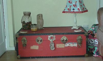 vintage travel trunk suitcase large red box coffee table