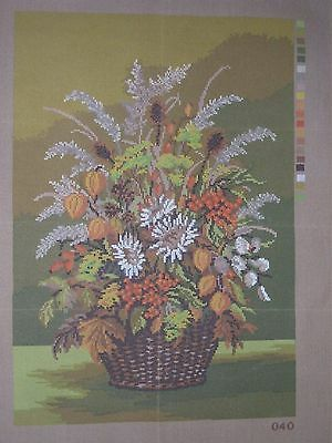 Lovely floral  printed needlepoint canvas for Fireside screen in autumn colours