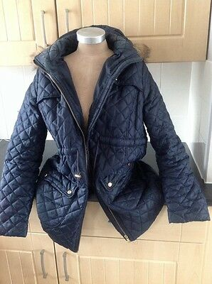 Ladies New Look Maternity Coat Size 14 Navy , With Faux Fur Hood