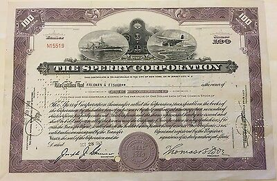 1948 Sperry Corporation Stock Certificate Warship and Early Airplane Vignette!