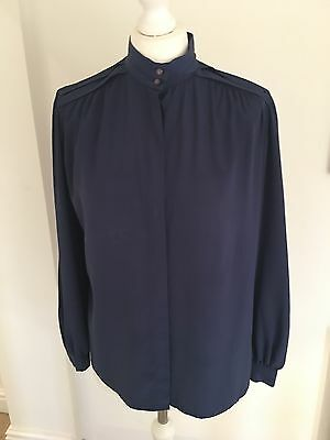 Vintage 1980's Navy Blouse Shirt Size 10-12