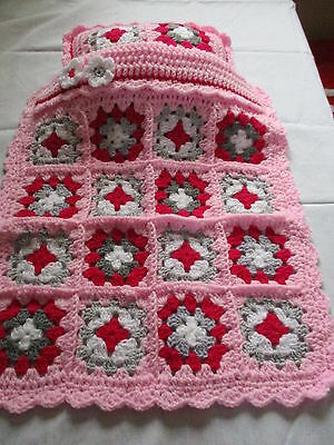 Handmade pink and grey Crochet doll's blanket and pillow set