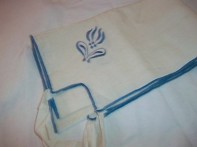 Vintage  Italian Linen Card Table Cloth Blue Embroidery Ties In corners 35x30