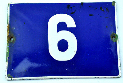Old Blue Vintage White Porcelain Enamel French House Gate Door Sign Number # 6