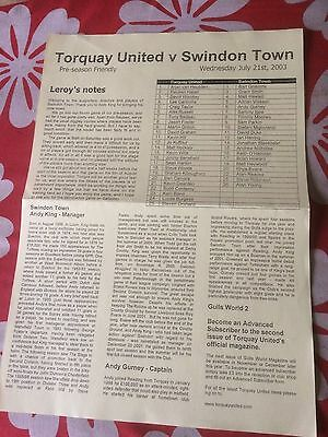 Torquay United v Swindon Town  friendly 2003