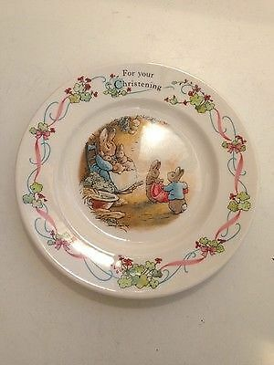 Wedgwood Peter Rabbit 'For Your Christening` Soup/Cereal bowl.
