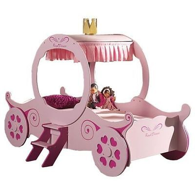 Girls 3Ft Single Princess Carriage Bed Frame In Pink**free Delivery*